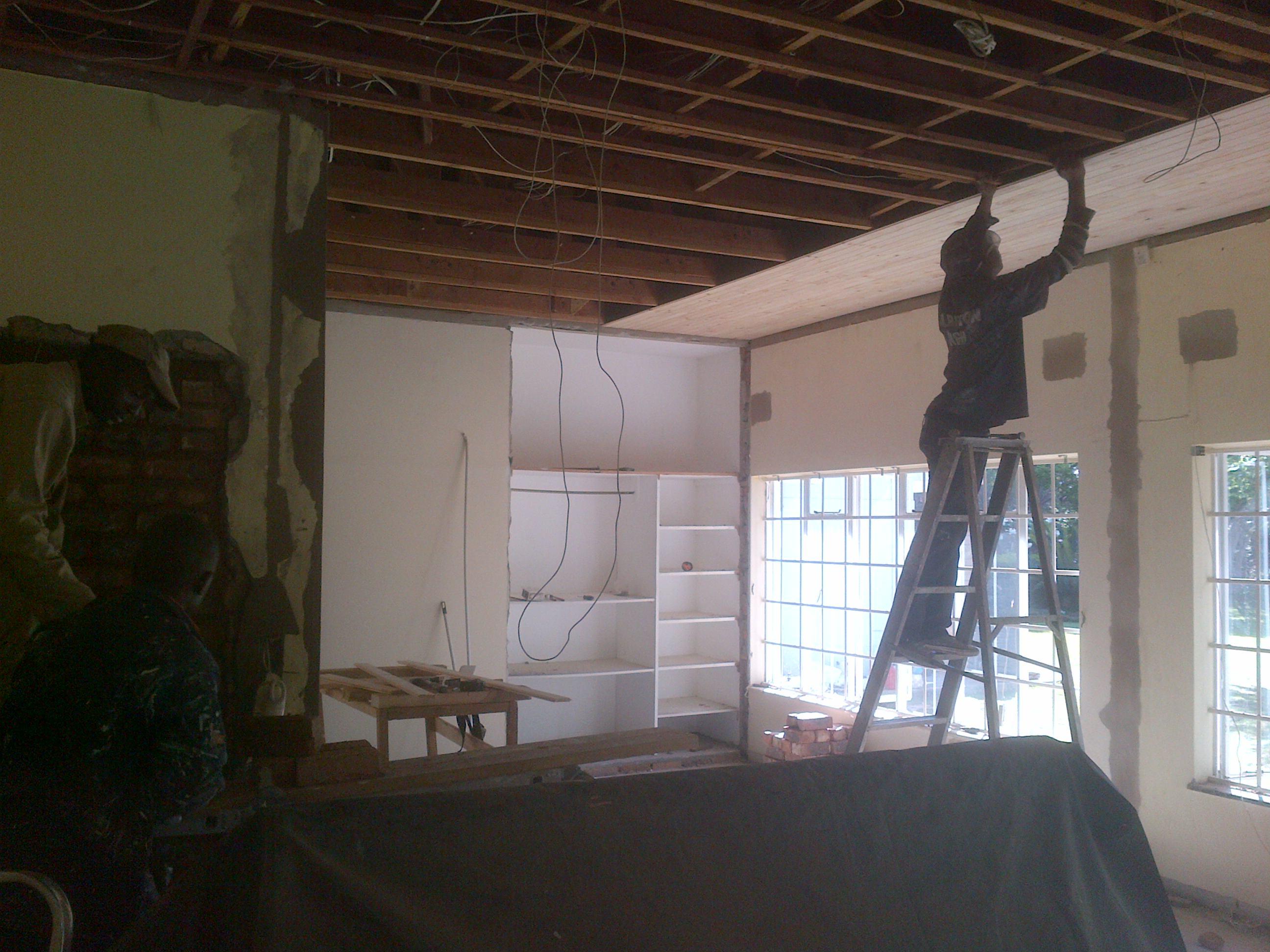 Knotty Pine Ceiling in Progress